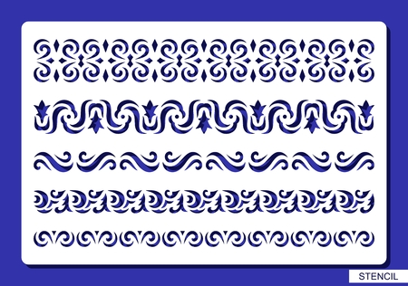 Set of decorative borders. Stencil with lace and floral patterns. Template for laser cutting, wood carving, paper cut and printing. Vector illustration.