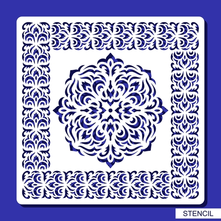 Stencil round ornament and square border. Carved mandala contour in arabesque style. Circular pattern and frame silhouette. Template for laser cutting, paper cut and printing. Vector illustration. Imagens - 110123896