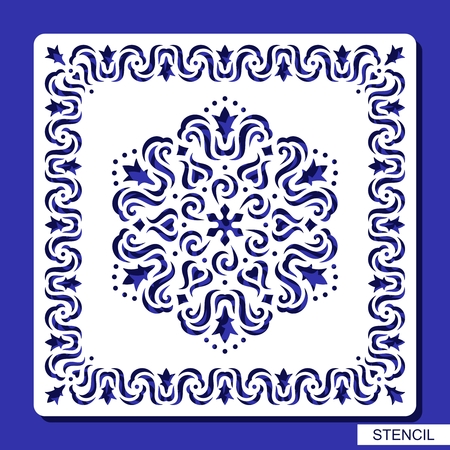Stencil round ornament and square border. Carved mandala contour in arabesque style. Circular pattern and frame silhouette. Template for laser cutting, paper cut and printing. Vector illustration.
