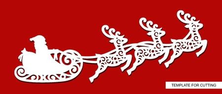 Silhouette des Weihnachtsmanns, der in einem Schlitten mit Rentieren fliegt. Festliches Dekorationsspielzeug für Weihnachten oder Neujahr. Winterschnitzen, Papierschneiden und Drucken. Vektorbild.