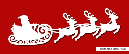 Silhouette of Santa Claus flying in a sleigh with reindeers. Festive decoration toy for Christmas or New Year. Winter carving, paper cutting and printing. Vector image.