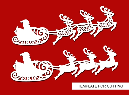 Set of Christmas decoration. Silhouettes of Santa Claus flying in reindeers. New years toys. Winter carving, paper cutting and printing. Vector illustration.