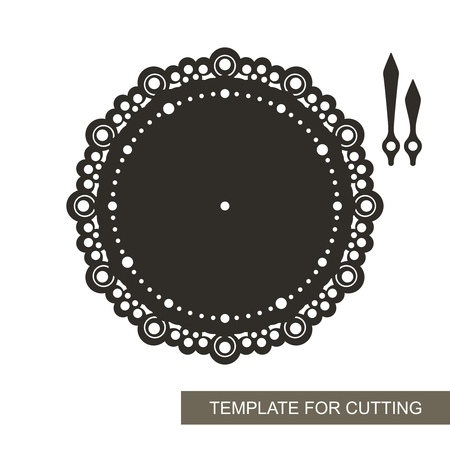Openwork dial with arrows on white background. Template for laser cutting, wood carving, paper cutting and printing. Vector illustration.