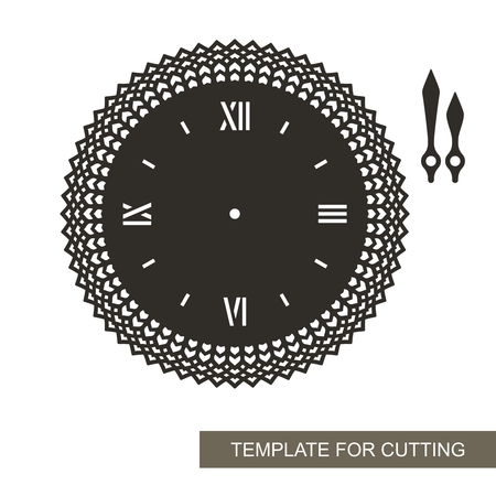Openwork dial with arrows on white background. Template for laser cutting, wood carving, paper cutting and printing. Vector illustration. Vektorové ilustrace