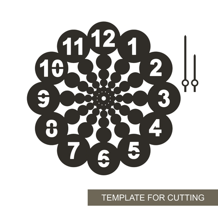 Dial with arrows and arabic numerals. Silhouette of clock on white background. Decor for home. Template for laser cutting, wood carving, paper cutting and printing. Vector illustration.