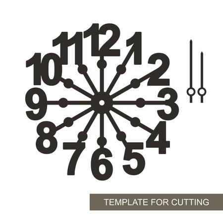 Grandes números arábigos. Silueta de reloj sobre fondo blanco. Decoración para el hogar. Plantilla para corte láser, tallado en madera, corte e impresión de papel. Ilustración vectorial.