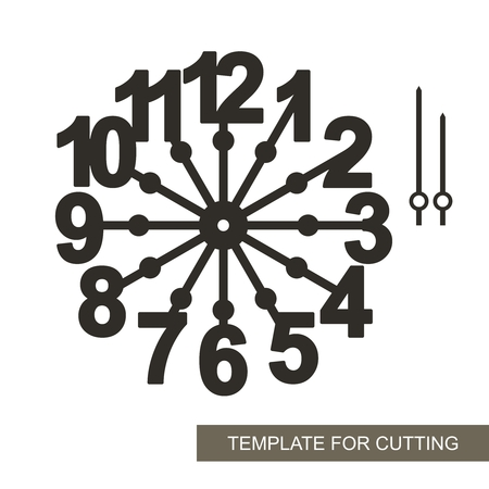 Big arabic numerals. Silhouette of clock on white background. Decor for home. Template for laser cutting, wood carving, paper cutting and printing. Vector illustration.