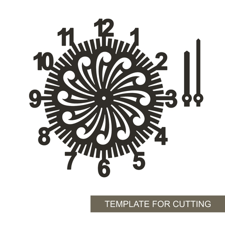 Openwork dial with arrows. Silhouette of clock on white background. Decor for home. Template for laser cutting, wood carving, paper cutting and printing. Vector illustration. Vektoros illusztráció