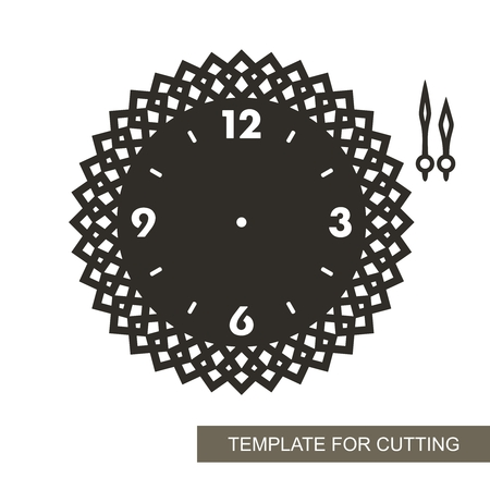 Openwork dial with arrows. Silhouette of clock on white background. Decor for home. Template for laser cutting, wood carving, paper cutting and printing. Vector illustration.