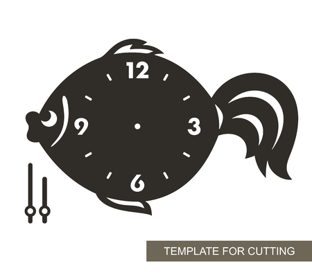 Dial with arrows and arabic numerals. Fish shape. Silhouette of clock on white background. Decor for home or kids room. Template for laser cutting, wood carving, paper cutting and printing. Vector. Vektorové ilustrace