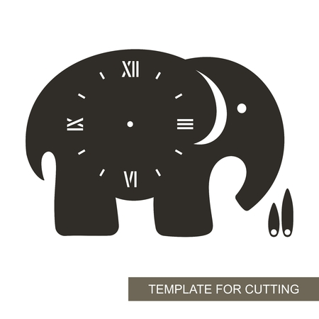 Dial with arrows and roman numerals. Elephant shape. Silhouette of clock on white background. Decor for home or kids room. Template for laser cutting, wood carving, paper cutting and printing. Vector. 矢量图像