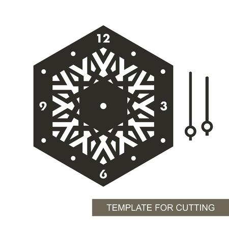 Esfera con flechas y números arábigos. Silueta de reloj sobre fondo blanco. Decoración para el hogar. Plantilla para corte láser, tallado en madera, corte e impresión de papel. Ilustración vectorial.