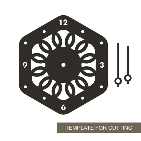 Dial with arrows and arabic numerals. Silhouette of clock on white background. Decor for home. Template for laser cutting, wood carving, paper cutting and printing. Vector illustration. Vektoros illusztráció