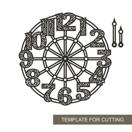 Openwork dial with roman numerals. Silhouette of clock on white background. Decor for home. Template for laser cutting, wood carving, paper cutting and printing. Vector illustration.