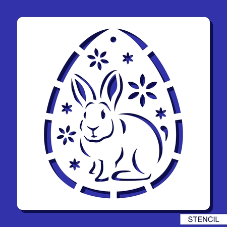 Stencil - decorative Easter Egg. Template for laser cutting, wood carving, paper cutting and printing. Vector illustration.
