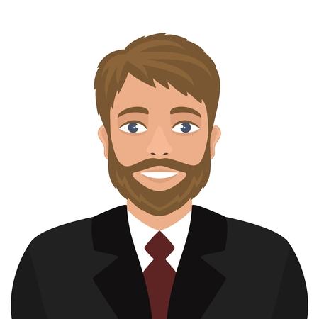 Homme souriant en costume sombre et cravate bordeaux. Style plat. Portrait d'un homme aux yeux bleus et aux cheveux blonds.