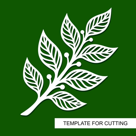Silhouette of a branch with leaves. Theme of plants. Template for laser cut, wood cutting, paper cutting and printing. Vector illustration.  イラスト・ベクター素材