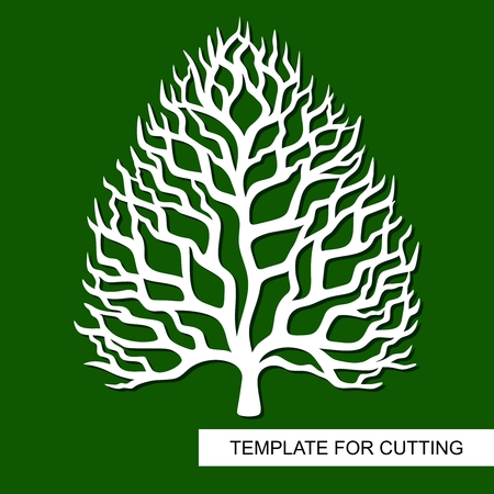 Tree silhouette without leaves. Template for laser cutting, wood carving, paper cutting and printing. Vector illustration Vektorové ilustrace
