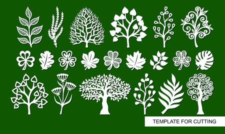 Set di sagome di piante, alberi, alghe, rami. Modello per taglio laser, intaglio del legno, taglio e stampa della carta. Illustrazione vettoriale. Vettoriali
