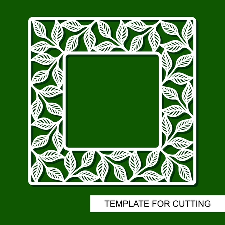 Square frame with leaves. Floral pattern. White border on a green background. Template for laser cut, wood carving, paper cutting and printing. Vector illustration.