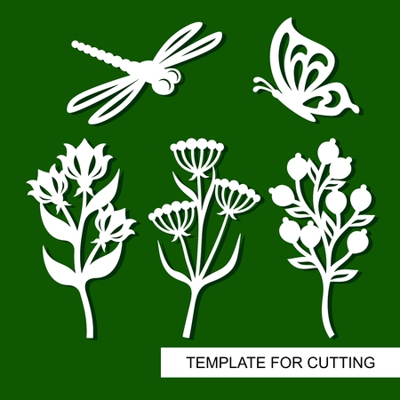 Set of twigs, flowers, butterflies and dragonflies. Plant theme. White objects on a green background. Template for cutting, cutting and printing. Vector illustration.