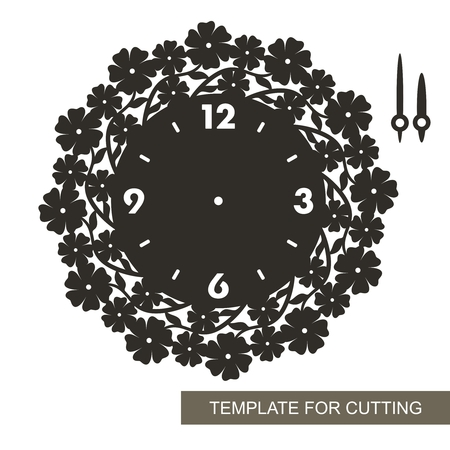 Openwork dial with arrows. Silhouette of clock with camomiles and leaves on white background. Decor for home. Template for cutting, cutting and printing. Vektorové ilustrace