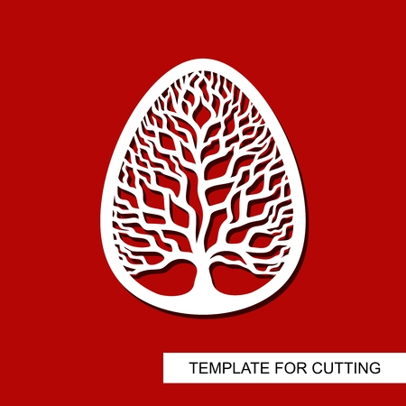 Decorative element - Easter Egg with floral ornament. White object on red background. Template for cutting, cutting and printing. Vector illustration.