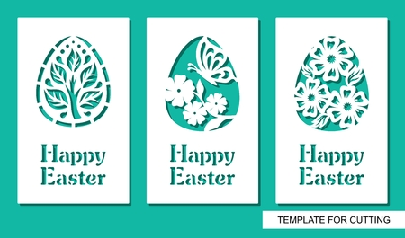 Happy Easter. Floral pattern and plant theme. White object on a green background. Template for laser cutting, wood carving, paper cut or printing.