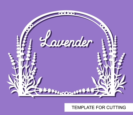 Decorative frame with lavender flowers. White objects on a purple background. Template for laser cutting, wood carving, paper cut or printing. Vector illustration.