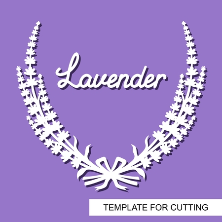 Lavender wreath tied with a ribbon. Flower frame. White objects on a purple background. Template for laser cutting, wood carving, paper cut or printing. Vettoriali
