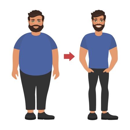 Hombre delgado sano gordo triste y feliz. Concepto de pérdida de peso. Ver antes y después de la dieta y el deporte. Personajes de dibujos animados sobre fondo blanco. Diseño plano. Ilustración de vector.