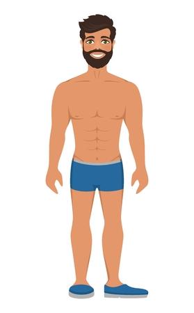 Hombre sonriente hermoso en ropa interior o bañador azul. Cabello castaño oscuro y ojos verdes. Ilustración de vector aislado. Personaje de dibujos animados sobre un fondo blanco. Estilo plano.