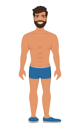 Handsome smiling man in underwear or blue swimming trunks. Dark brown hair and green eyes. Isolated vector illustration. Cartoon character on a white background. Flat style.