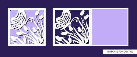 Silhouette of greeting card with flowers and butterfly. Template for laser cutting, die cutting or paper cut. For wedding invitation, birthday, valentines day, Easter or Womens day. Floral ornament. Vector.