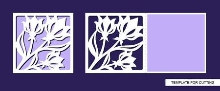 Silhouette of greeting card with flowers. Template for laser cutting, die cutting or paper cut. Can be used for wedding invitation, birthday, valentines day, easter or women day. Floral ornament. Vector.