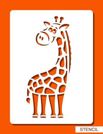 Cute cheerful giraffe. Stencil for children. White object on orange background. ?artoon zoo character. Template for laser cutting, wood carving, paper cutting and printing. Vector illustration.