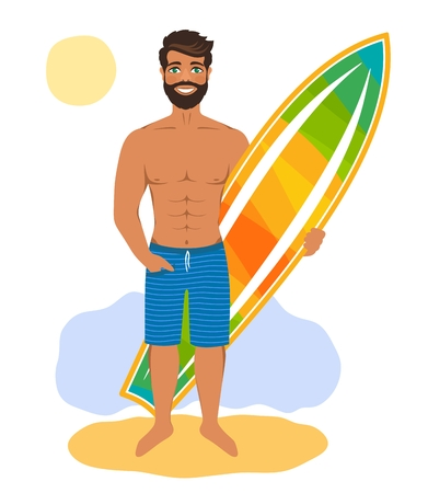 Handsome man standing with surfboard. Muscled surfer on a sandy beach. Cartoon character isolated on white background. Vector illustration. Flat style.
