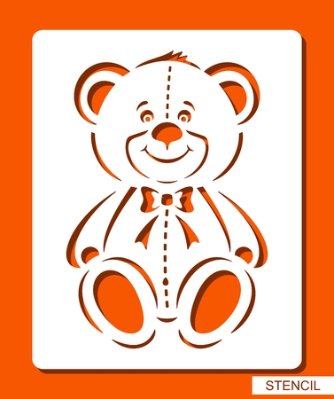 Happy smiling Teddy bear. Stencil for children. White object on orange background. ?artoon zoo character. Template for laser cutting, wood carving, paper cutting and printing. Vector illustration.