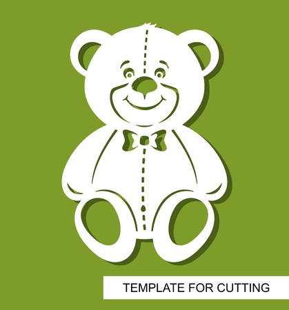 Silhouette of cute teddy bear. Decor for children's room. White cartoon character on a green background. Template for laser cutting, wood carving or paper cut. Vector illustration.