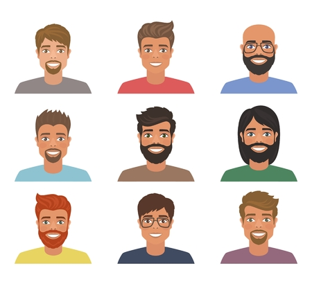 Set of mens avatars with various hairstyle: long or short hair, bald, with beard or without. Cartoon portraits isolated on white background. Flat style. Vector illustration. Illustration