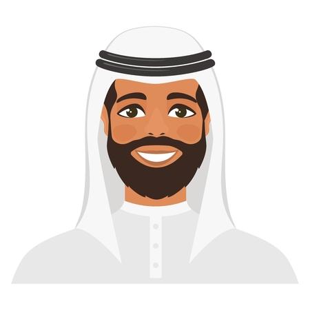 Arabian Man. Cartoon character isolated on white background. Flat style. Vector illustration.