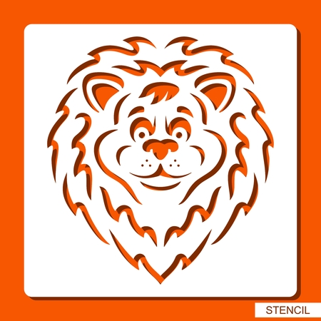 Lion head silhouette. Stencil for children. White object on orange background. ?artoon zoo character. Template for laser cutting, wood carving, paper cutting and printing. Vector illustration. 矢量图像