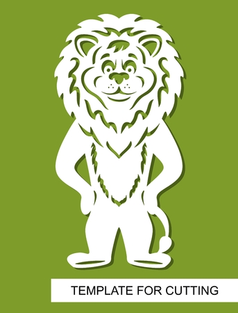 Lion silhouette. White cartoon character on a green background. Template for laser cutting, wood carving, paper cut or printing. Vector illustration. Illustration