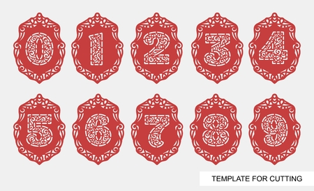 Set of celebration flag with number 1 (one), 2 (two), 3 (three), 4 (four), 5 (five), 6 (six), 7 (seven), 8 (eight), 9 ( nine), 0 (zero). Festive decoration. Template for laser cutting,