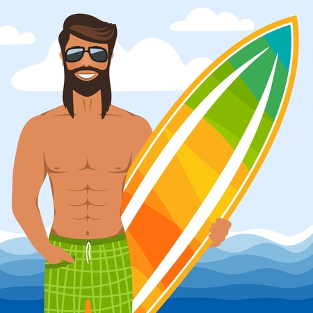 Smiling man with glasses standing with surfboard. Muscled long haired surfer in shorts on the beach. In the background, blue sea, sky, clouds. Cartoon character. Flat style. Vector illustration.