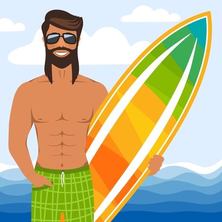 Uomo sorridente con gli occhiali in piedi con la tavola da surf. Surfista muscoloso dai capelli lunghi in pantaloncini sulla spiaggia. Sullo sfondo, mare azzurro, cielo, nuvole. Personaggio dei cartoni animati. Stile piatto. Illustrazione vettoriale.