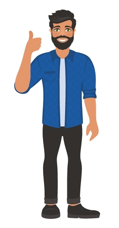 Happy smiling man shows thumbs up. Gesture, symbol or sign Like, cool, agree, approve. Blue shirt and jeans. Cartoon positive character on white background.