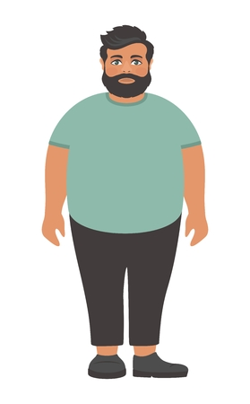 Big green t-shirt. Obesity problem. Cartoon character on a white background. Flat design. Vector illustration.