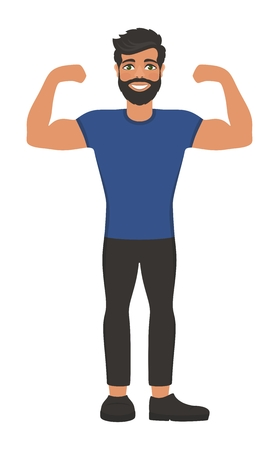 Happy smiling man shows his muscles. Healthy lifestyle, athletic body. Blue T-shirt and jeans. Cartoon character on a white background. Vector image.