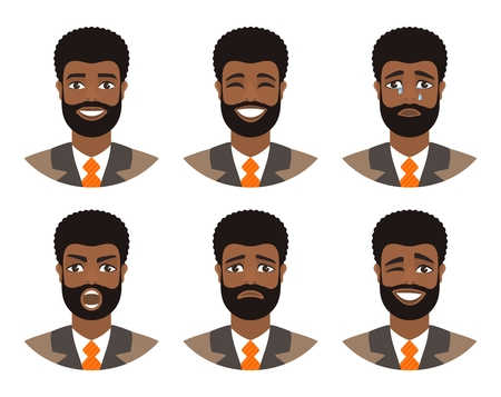Set of mens avatars expressing various emotions: joy, sadness, laughter, tears, anger, disgust, cry. Businessman with dark curly hair and brown eyes. Cartoon character isolated on a white background.